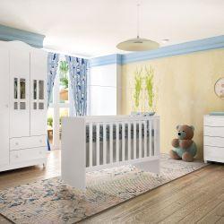Quarto de Bebê Ariel com Berço/Cômoda/Guarda-Roupa de 3 Portas e 2 Gaveta