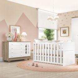 Quarto de Bebê Requinte Amadeirado Berço/Cômoda 1 Porta