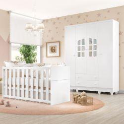 Quarto de Bebê Requinte com Berço/Guarda-Roupa 4 Portas