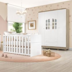 Quarto de Bebê Requinte Amadeirado com Berço/Guarda-Roupa 4 Portas