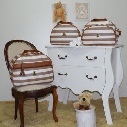Conjunto de Bolsas Maternidade Mônaco Bege Listrado