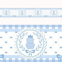 Faixa Adesiva de Parede Ursinho Clássico Azul Bebê