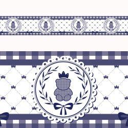 Faixa Adesiva de Parede Ursinho Clássico Azul Marinho
