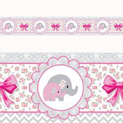 Faixa Adesiva de Parede Elefantinhos Rosa