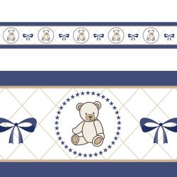 Faixa Adesiva de Parede Teddy Azul Marinho