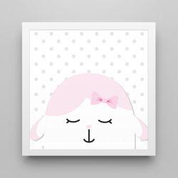 Quadro Amiguinha Ovelhinha Rosa/Branco 20cm