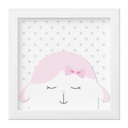 Quadro Amiguinha Ovelhinha Rosa/Branco