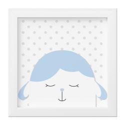 Quadro Amiguinho Carneirinho Azul Bebê/Branco