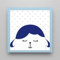 Quadro Amiguinho Carneirinho Azul Marinho/Azul Bebê 18cm