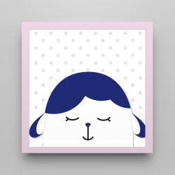 Quadro Amiguinho Carneirinho Azul Marinho/Rosa 18cm