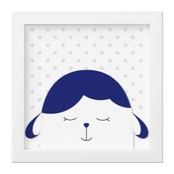 Quadro Amiguinho Carneirinho Azul Marinho/Branco