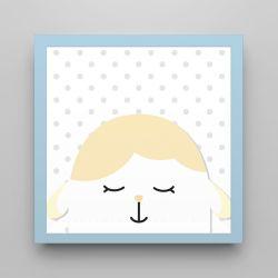 Quadro Amiguinho Carneirinho Amarelo/Azul Bebê 18cm