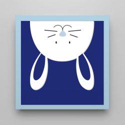 Quadro Amiguinho Coelhinho Azul Marinho/Azul Bebê 18cm