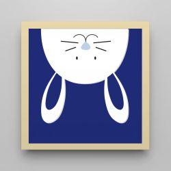 Quadro Amiguinho Coelhinho Azul Marinho/Amarelo 18cm