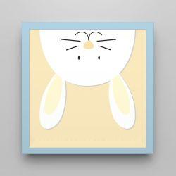 Quadro Amiguinho Coelhinho Amarelo/Azul Bebê 18cm