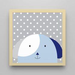 Quadro Amiguinho Cachorrinho Azul Marinho/Amarelo 18cm