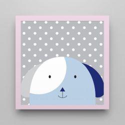Quadro Amiguinho Cachorrinho Azul Marinho/Rosa 18cm