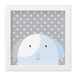 Quadro Amiguinho Cachorrinho Azul Bebê/Branco