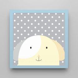 Quadro Amiguinho Cachorrinho Amarelo/Azul Bebê 18cm
