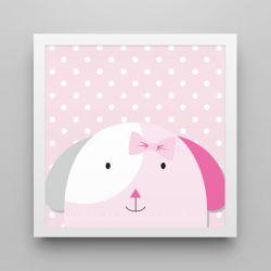 Quadro Amiguinha Cachorrinha Rosa/Branco 20cm