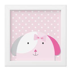 Quadro Amiguinha Cachorrinha Rosa/Branco