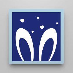 Quadro Amiguinho Orelhinhas Azul Marinho/Azul Bebê 18cm