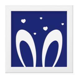 Quadro Amiguinho Orelhinhas Azul Marinho/Branco
