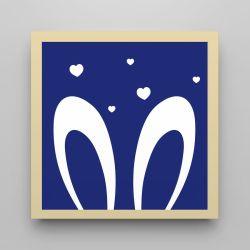 Quadro Amiguinho Orelhinhas Azul Marinho/Amarelo 18cm