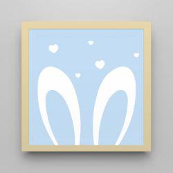 Quadro Amiguinho Orelhinhas Azul Bebê/Amarelo 18cm