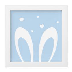 Quadro Amiguinho Orelhinhas Azul Bebê/Branco