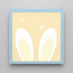Quadro Amiguinho Orelhinhas Amarelo/Azul Bebê 18cm