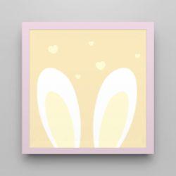 Quadro Amiguinho Orelhinhas Amarelo/Rosa 18cm