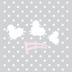 Quadro Amiguinho Ovelhinhas Rosa/Branco