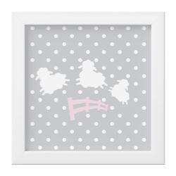 Quadro Amiguinhas Ovelhinhas Rosa/Branco