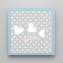 Quadro Amiguinhas Ovelhinhas Rosa/Azul Bebê 18cm