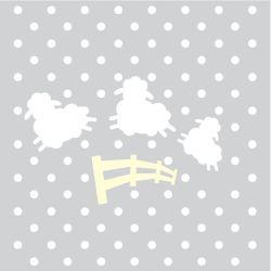Quadro Amiguinho Ovelhinhas Amarelo/Branco