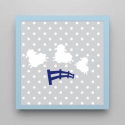 Quadro Amiguinho Ovelhinhas Azul Marinho/Azul Bebê 18cm