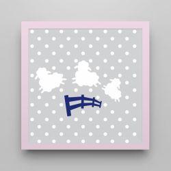 Quadro Amiguinho Ovelhinhas Azul Marinho/Rosa 18cm