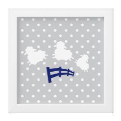 Quadro Amiguinho Ovelhinhas Azul Marinho/Branco