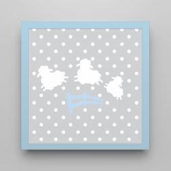 Quadro Amiguinho Ovelhinhas Azul Bebê 18cm