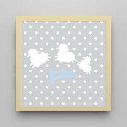 Quadro Amiguinho Ovelhinhas Azul Bebê/Amarelo 18cm