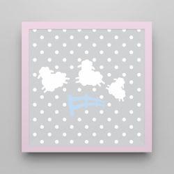 Quadro Amiguinho Ovelhinhas Azul Bebê/Rosa 18cm