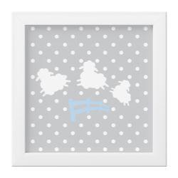 Quadro Amiguinho Ovelhinhas Azul Bebê/Branco