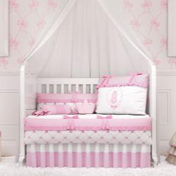 Quarto de Bebê Ursinha Clássica Rosa 19 Peças