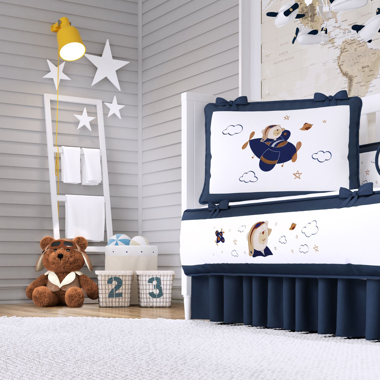 4dbcdf742f8b1 Quarto de Bebê Urso Aviador 20 Peças   Grão de Gente