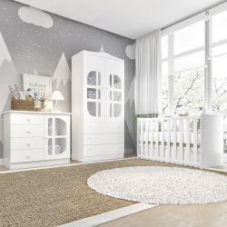 Quarto de Bebê Luíza com Berço/Cômoda 1 Porta/Guarda-Roupa 2 Portas