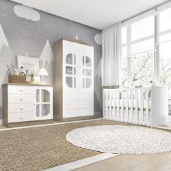 Quarto de Bebê Luíza Amadeirado com Berço/Cômoda 1 Porta/Guarda-Roupa 2 Portas