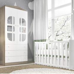 Quarto de Bebê Luíza Amadeirado com Berço/Guarda-Roupa 2 Portas