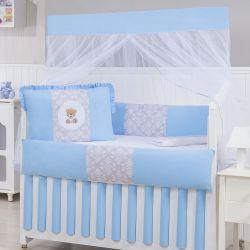 Kit Berço Ursinho Arabesco Azul Bebê