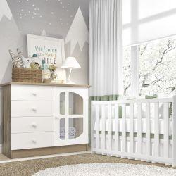 Quarto de Bebê Luíza Amadeirado com Berço/Cômoda 1 Porta